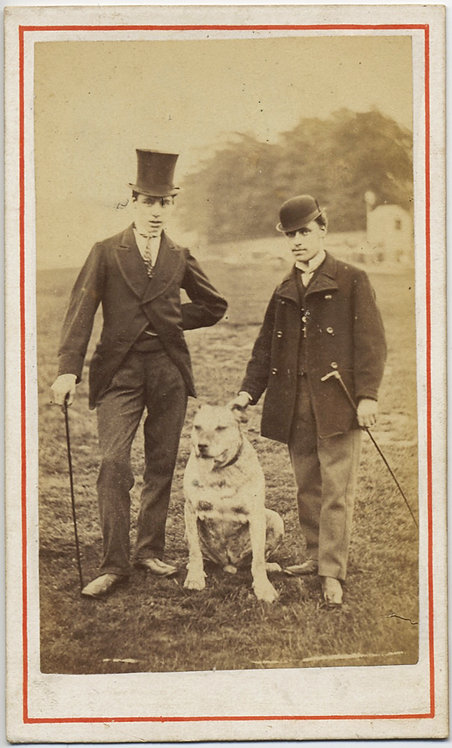 YOUNG ENGLISH GENTLEMEN & LARGE BULLMASTIFF DOG PET EXCELLENT CDV BACKSTAMP