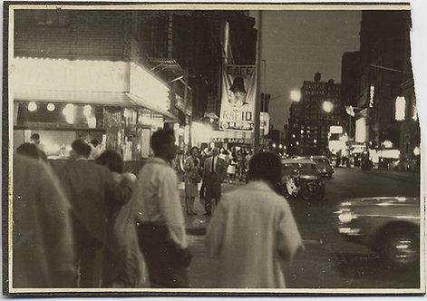 SUPERB GREENWICH VILLAGE CAFE RAFIO BLEECKER ST 1960's NIGHT TIME STREET SCENE