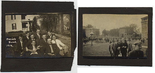 2 SMALL PICS COLLEGE LIFE 1914 Daniels Bunch MEN TOGETHER & ON the WAY to CLASS