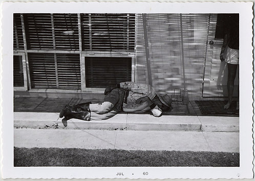 "DEAD TIRED! MAN LIES SLEEPING ON CONCRETE w GREAT CAPTION ""Dad, very tired"""