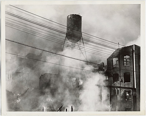 SUPERB WATER TOWER EMERGES through SMOKE BUILDING FIRE PRESS PRINT