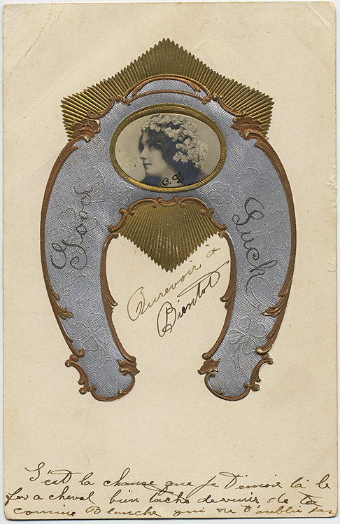 UNUSUAL FRENCH HORSESHOE good luck POSTCARD! EXQUISITE