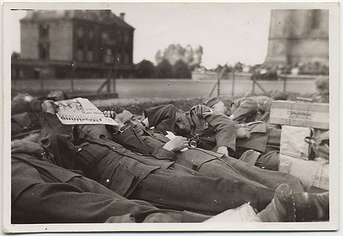 SLEEPING GERMAN? SOLDIERS in a ROW! ONE COVERS FACE with NEWSPAPER