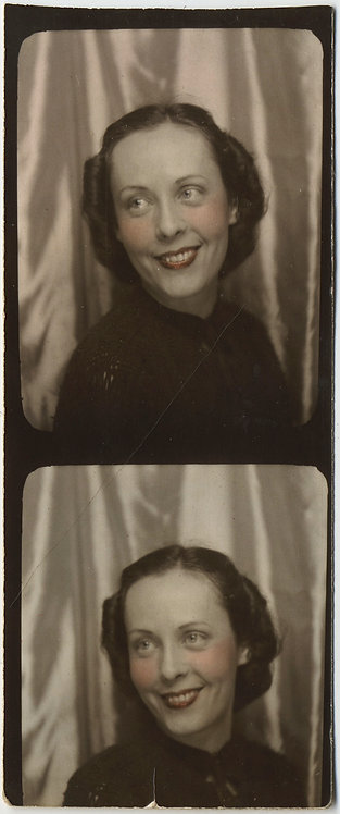 LOVELY TINTED PARTIAL PHOTOBOOTH STRIP of ELEGANT SMILING WOMAN