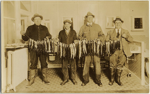 1930 FISHING FISHERMEN RPPC HUGE CATCH ANNOTATED CHERRY VALLEY NH PICKERAL PERCH