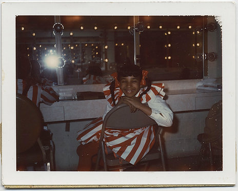 LITTLE BLACK GIRL in STRIPED COSTUME in DRESSING ROOM MIRROR FLASH POLAROID