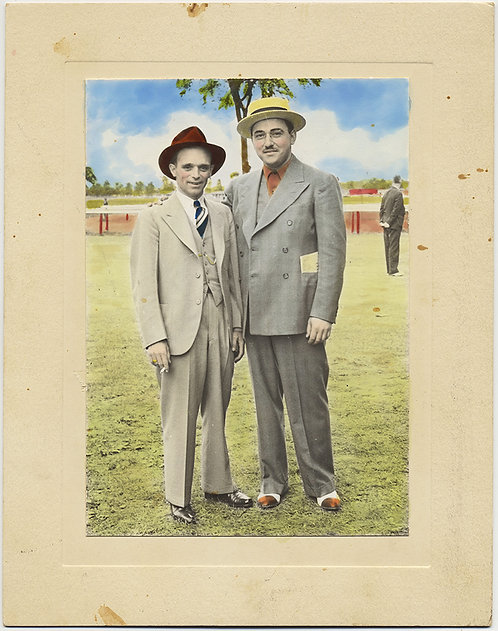 SUPERB HAND TINTED COLORED PORTRAIT MEN in SUITS SADDLE SHOES at the HORSE RACES