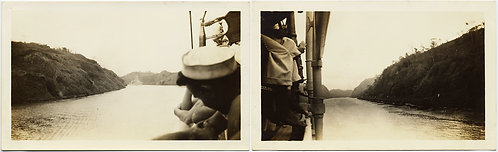 EXTRAORDINARY DIPTYCH PANAMA CANAL SAILORS WATCH USS Indianopolis USS Maryland