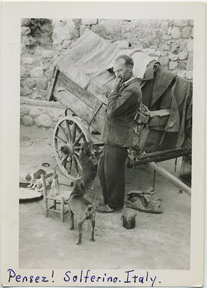 ITALIAN PEASANT w CART is Thinking in SOLFERINO!  PEDDLER CUTE PUPPIES