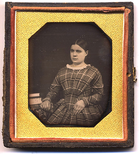 LOVELY EARLY 6TH PLATE YOUNG WOMAN in PLAID DRESS SILK PAD