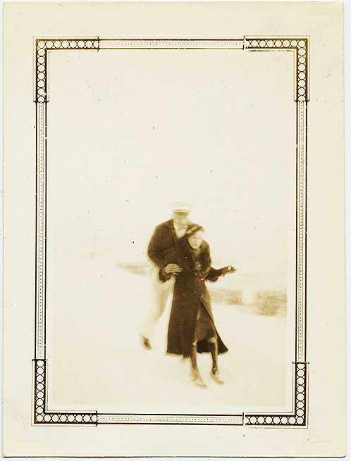 IMPRESSIONISTIC LOVELY COUPLE PLAY in SNOW in HAZY BLEACHED LANDSCAPE SNAPSHOT