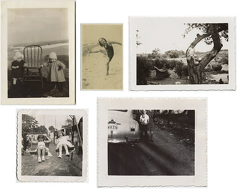 5 pics KIDS on SWING, w CHAIR, on BEACH, w VINTAGE CAR and MORE