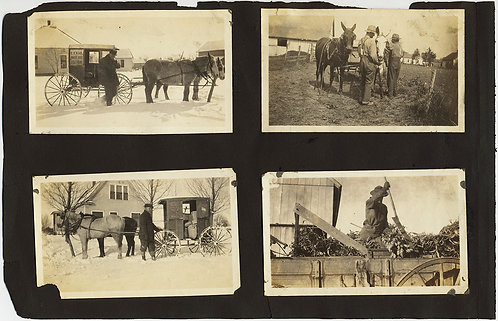 AMAZING ALBUM PAGE VINTAGE CARS incl ARMORED? CAR US MAIL DELIVERY HORSE BUGGIES