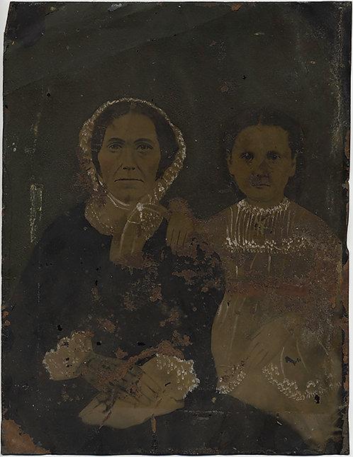 DITRESSED FULL PLATE HAND PAINTED TINTYPE (GRAND)MOTHER & CHILD FOLK ART