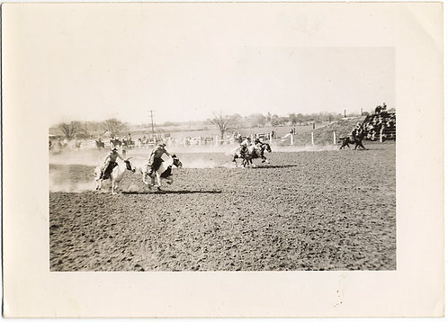 HORSES and COWBOYS GALLOP ACROSS SANDY COURSE in RODEO RACE