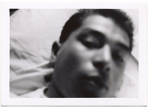 MYSTERY MAN in IMPRESSIONISTIC SOFT FOCUS BLURRY PORTRAIT HEAD on PILLOW