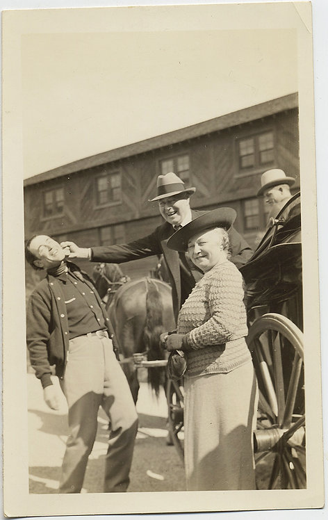 OLDER MAN FAKE PUNCHES YOUNGER HANDSOME MAN GRINNING WOMEN HORSE DRAWN CARRIAGE