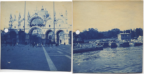 2 CYANOTYPES! GRAND TOUR ST MARKS VENICE w  PIGEONS and BRIDGE of BOATS COLOGNE