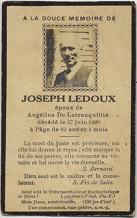 MEMORIAL CARD! Joseph Ledoux! A la douce Memoire UNUSUAL