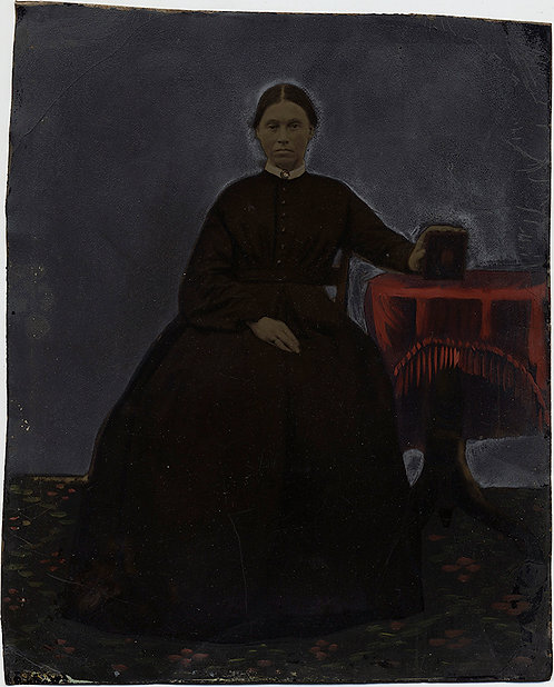 EXCELLENT FULL PLATE HAND PAINTED TINTYPE FULL LENGTH SEATED WOMAN w BOOK