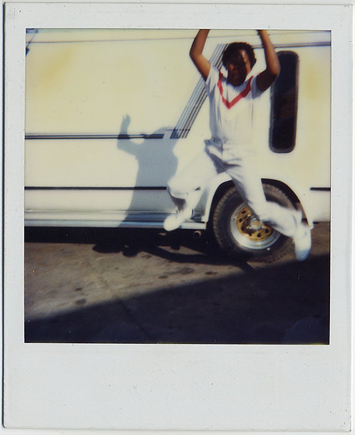 STUNNING POLAROID BLACK BOY in WHITE w RED CHEVRON LEAPS JUMPS GREAT COMPOSITION