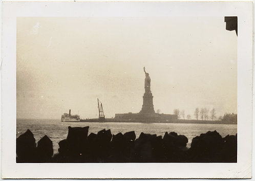 STUNNING SILHOUETTED STATUE of LIBERTY ISLAND SEEN fm BREAKWATER w FERRY
