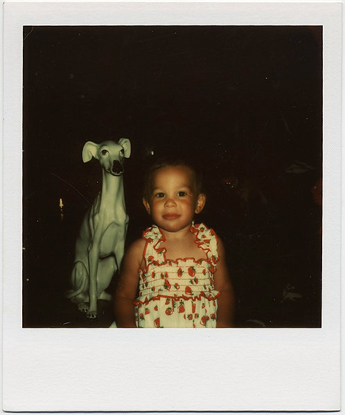 LITTLE GIRL and PORCELAIN SCULPTURE STATUE OBJECT of GREYHOUND POLAROID