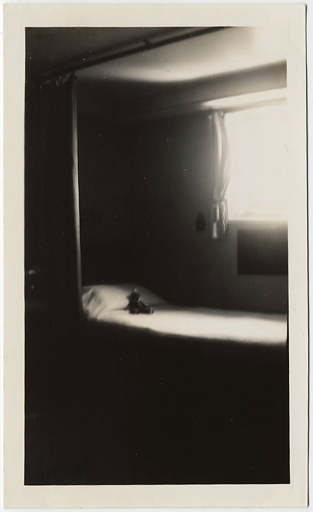 HAUNTING EVOCATIVE EMPTY SHIP'S BUNK BED w STUFFED TOY SUNLIT