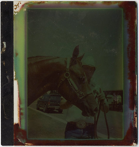 VERY UNUSUAL DISCOLORED POLAROID HORSE and RIDER CHEMICAL LEAK?