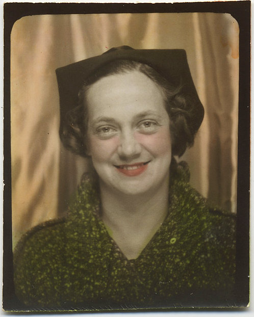 LOVELY HAND TINTED ROSY CHEEKED WOMAN in CLASSY PHOTOBOOTH UNUSUAL HAT BRIM