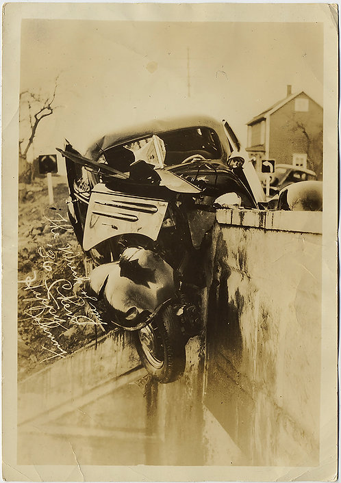 "STUNNING CAR CRASH TOTALLED WRECK '36 Chevrolet ""Happy Johnny"""