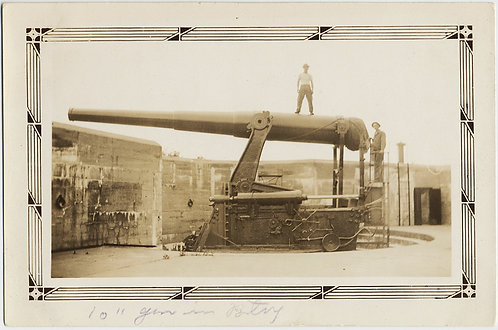 "WOW WHAT a BIG GUN YOU HAVE! MEN STAND on GIANT 10"" GUN CANNON BATTERY HITCHCOCK"