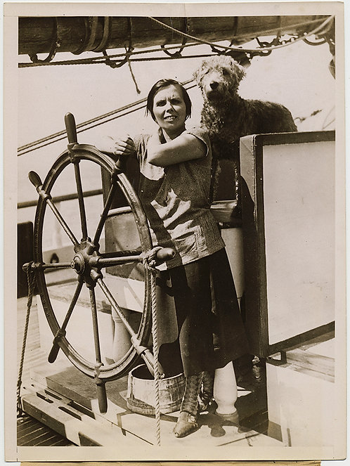 PRESS PHOTO MISSING LOST SHIP w WOMAN SAILOR at HELM AIREDALE DOG A E Rosendal