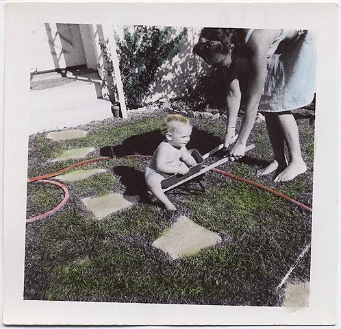 INEXPERTLY HAND TINTED BABY WHEELBARROW GARDEN HOSE & MOTHER