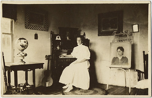 STUNNING RPPC VICTORIAN INTERIOR PORTRAIT WOMAN w PAINTING GUITAR