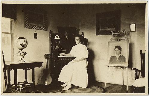STUNNING RPPC VICTORIAN INTERIOR PORTRAIT WOMAN w PAINTING GUITAR