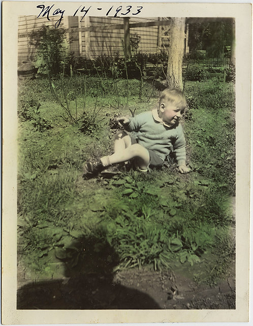 ADORABLE LITTLE BOY on WONDERFULLY HAND TINTED GRASS w SHADOW of PHOTOGRAPHERS