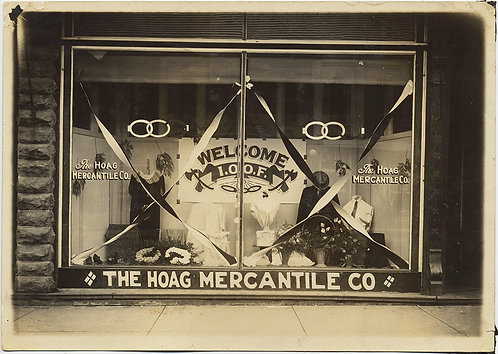 INCREDIBLE VINTAGE STORE FRONT WINDOW HOAG MERCANTILE ODD FELLOWS WELCOME IOOF