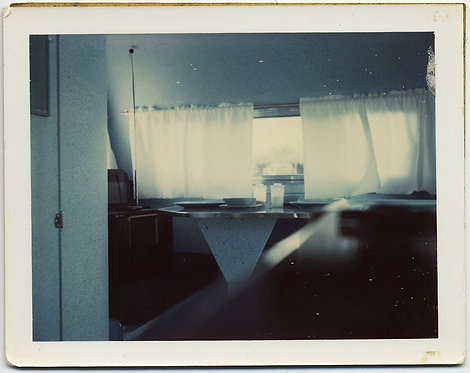 EXQUISITE POLAROID SPECTRAL INTERIOR of CAMPER ALL GLOWING SUNLIT WHITE SURFACES