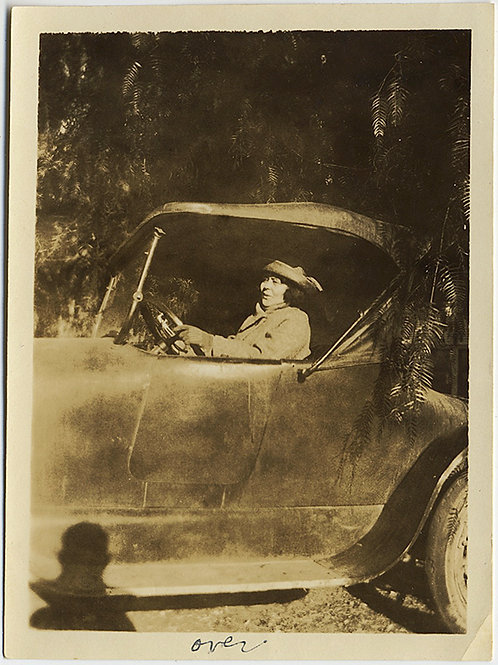 WOMAN in Pat's CAR w PHOTOGRAPHER'S SHADOW Pepper Tree & GREAT CAPTION