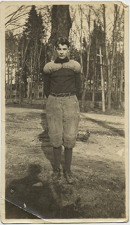 SUPER VINTAGE HANDSOME FOOTBALL PLAYER POSES for PORTRAIT w WOODS TREES BEHIND