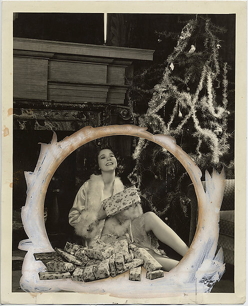 STARLET TWELVETREES w. GIFTS under CHRISTMAS TREE in HEAVILY PAINTED PRESS PHOTO