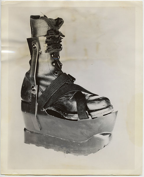 OBJECT PRODUCT PRESS PHOTO MILITARY STAINLESS STEEL ARMORED BOOT
