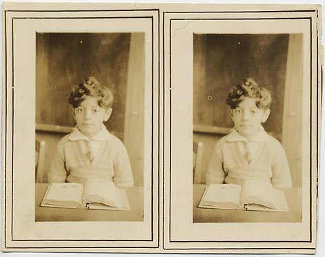 ADORABLE CUTE TOUSLE HAIRED YOUNG BOY OPEN BOOK SCHOOL PHOTO