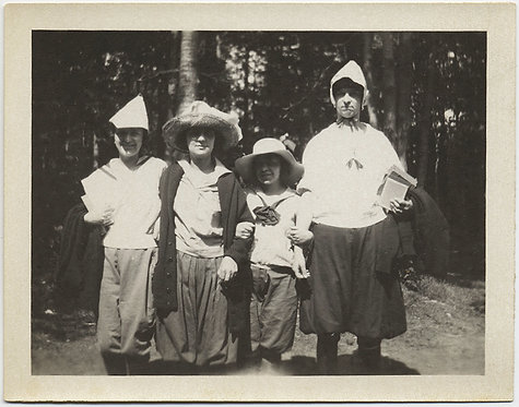 VERY UNUSUAL STRANGE GROUP KIDS & ADULTS in WEIRD FUNNY HATS in FOREST
