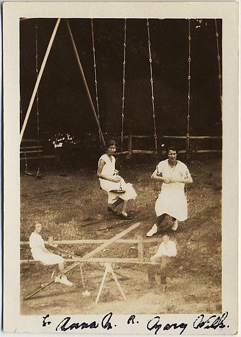 TERRIFIC DOUBLE EXPOSURE WOMEN on SWINGS and SEESAW in PARK