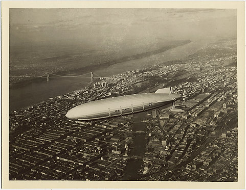 GORGEOUS large image of US NAVY BLIMP/AIRSHIP in FLIGHT over CITY