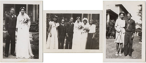 HANDSOME AFRICAN-AMERICAN BLACK SAILOR & BRIDE in WEDDING PARTY BLISS 3 PICS