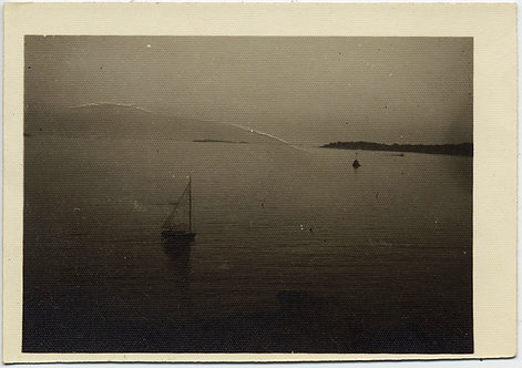 EVOCATIVE MOODY SAILBOAT SAILS on DARK WATER of UNKNOWN BAY