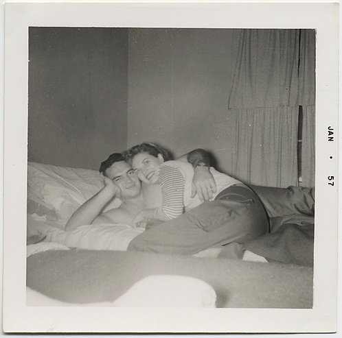 SEXY HANDSOME COUPLE CUDDLE TOGETHER on BED in JAN 57